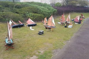 rc, boat, model, sail, navy